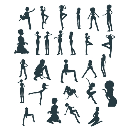 Set of women silhouettes. Fashion mannequin. Collection of posing figures