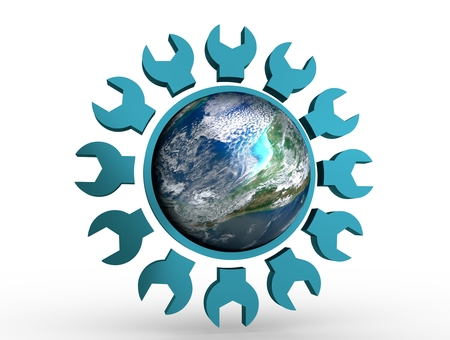 Earth globe in gear shape emblem. Elements of this image furnished by NASA. 3D rendering