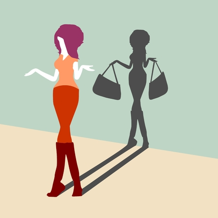 Young lady casting shadow of woman with shopping bags, Confused and frowned fashionable woman standing shrugging shoulders complaining expressing frustration gesturing with her hands. Illustration