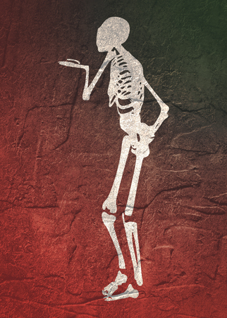 Human skeleton who sends an air kiss. Halloween party design template