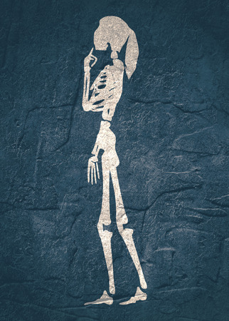human skeleton posing halloween party design template grunge