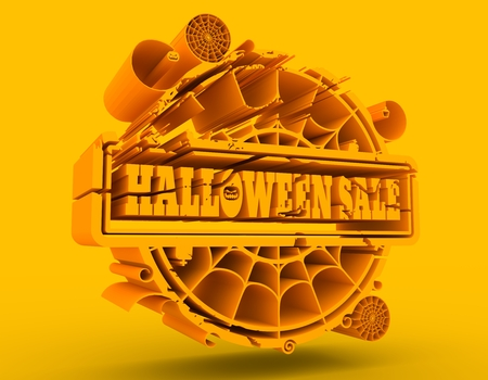 Carved stamp with Halloween Sale text and spider net. 3d rendering. Golden seal Stock Photo