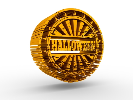 Carved stamp with Halloween text. 3d rendering. Metallic material. Golden seal
