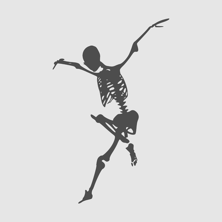 Human skeleton jump. Vector illustration. Halloween party design template