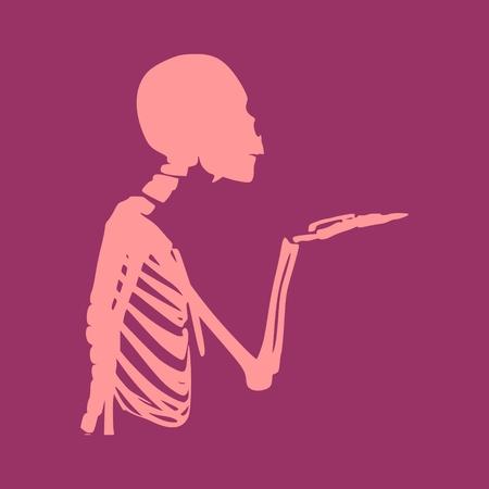 Human skeleton who sends an air kiss. Halloween party design template