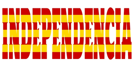 barcelona: Independencia word textured by flag of the Catalonia flag. Translated from Spanish as Independence