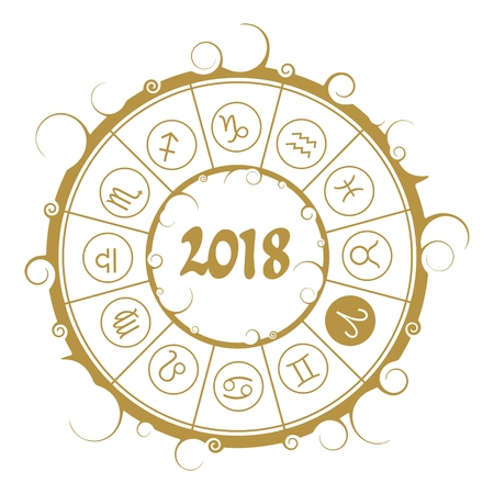 An Astrological symbols in the circle. Aries sign. New Year and Christmas celebration card template. Zodiac circle with 2018 new year number.