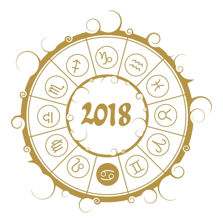An Astrological symbols in the circle. Cancer sign. New Year and Christmas celebration card template. Zodiac circle with 2018 new year number. Illustration