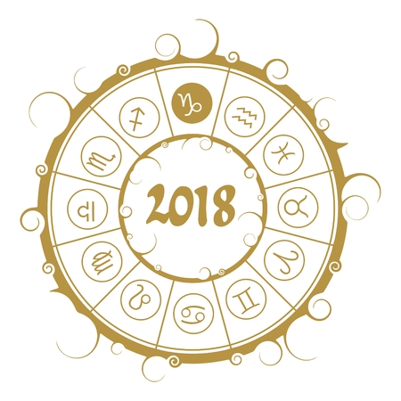 augury: An Astrological symbols in the circle. Capricorn sign. New Year and Christmas celebration card template. Zodiac circle with 2018 new year number.