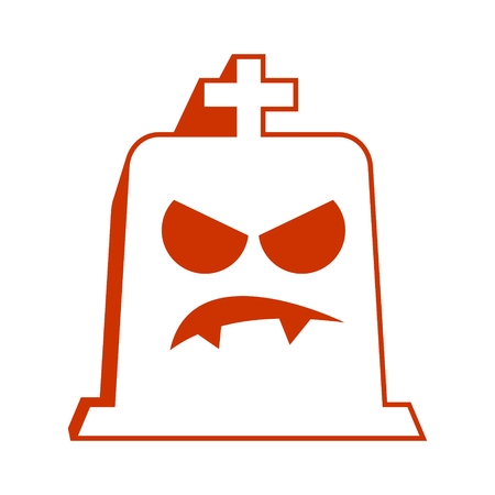 Cartoon tomb as smiley icon. Halloween party collection