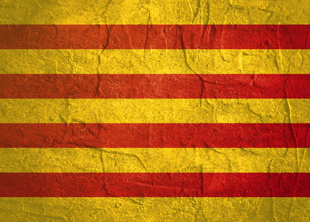 Catalonia flag. Grunge distress texture. Concrete wall Stok Fotoğraf - 87336223