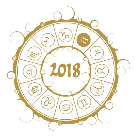 augury: Astrological symbols in the circle. Water bearer sign. New Year and Christmas celebration card template. Zodiac circle with 2018 new year number.