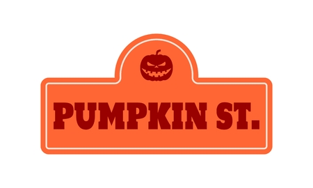 Vintage styled house nameplate. Silhouette of pumpkins head. Pumpkin st text Illustration