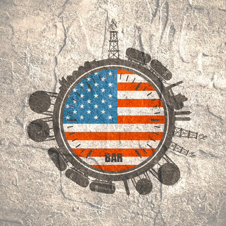 heavy industry: Circle with energy relative silhouettes. Design set of natural gas industry. Objects located around the manometer circle. Flag of the USA. Grunge distress texture. Stock Photo