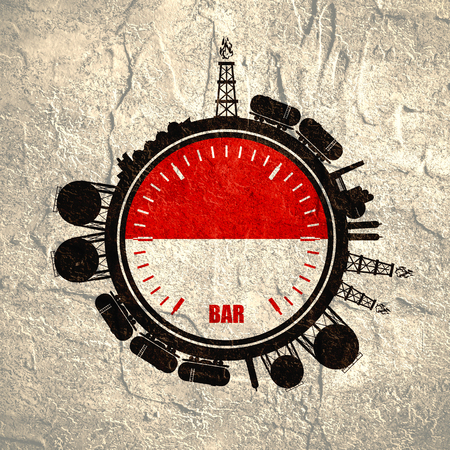 heavy industry: Circle with energy relative silhouettes. Design set of natural gas industry. Objects located around the manometer circle. Flag of the Indonesia. Grunge distress texture.