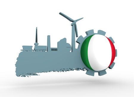 oil and gas industry: Energy and Power icons set and grunge brush stroke. Energy generation and heavy industry relative image. Agriculture and transportation. Flag of the Italy. 3D rendering Stock Photo