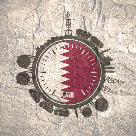 heavy industry: Circle with energy relative silhouettes. Design set of natural gas industry. Objects located around the manometer circle. Flag of the Qatar. Grunge distress texture. Stock Photo