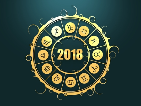 Astrological symbols in the circle. Golden emblem. Metallic material. New Year 2018 numbers. 3d rendering Standard-Bild