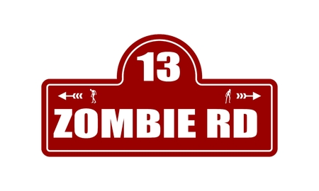 Vintage styled house nameplate. Zombie silhouettes. 13 number and zombie rd text Illustration