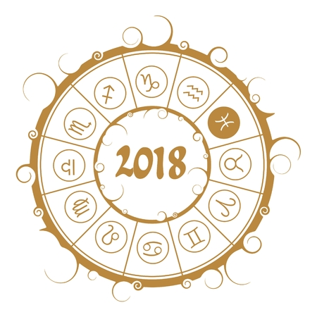 Astrological symbols in the circle. Pisces sign. New Year and Christmas celebration card template. Zodiac circle with 2018 new year number. Illustration