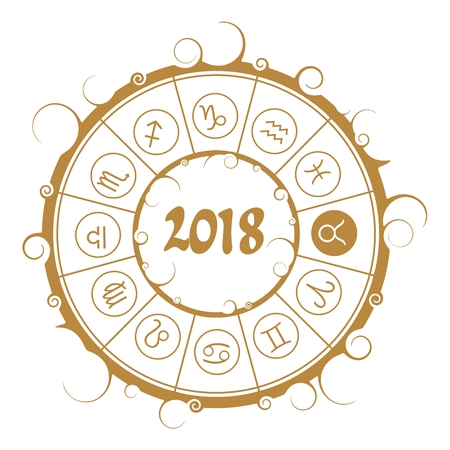 Astrological symbols in the circle. Bull sign. New Year and Christmas celebration card template. Zodiac circle with 2018 new year number.