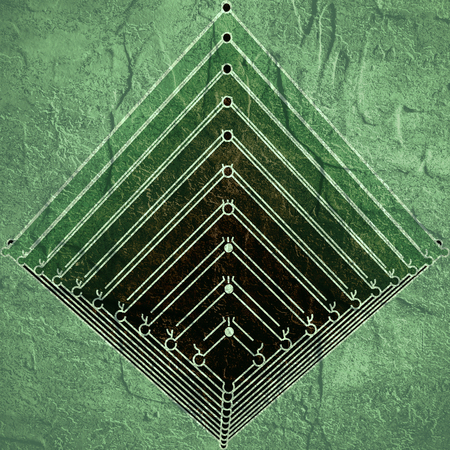 schemes: Brochure or report design template. Connected lines with dots. Isometric pyramid. Grunge distress texture. Stock Photo