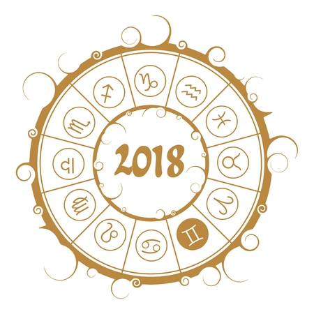 Astrological symbols in the circle. Gemini sign. New Year and Christmas celebration card template. Zodiac circle with 2018 new year number.