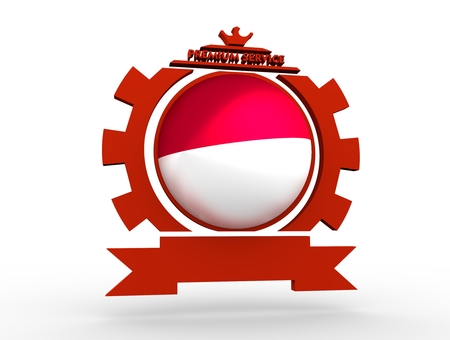 Sphere textured by flag of the Indonesia in gear shape emblem. Crumpled paper map. 3D rendering