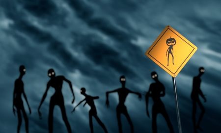 traffic pole: Warning yellow road sign with undead Halloween creature icon. Zombie silhouettes. Storm clouds on backdrop. 3D rendering