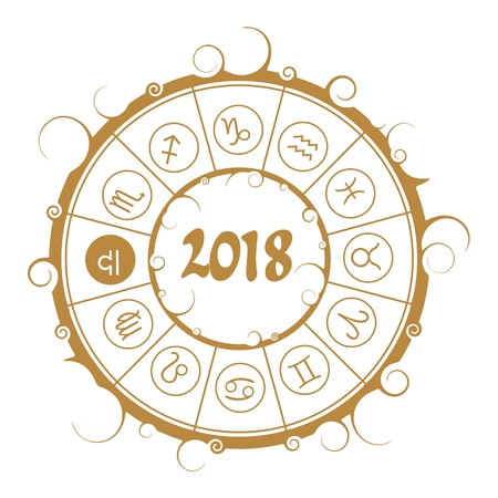 augury: Astrological symbols in the circle. Scales sign. New Year and Christmas celebration card template. Zodiac circle with 2018 new year number. Illustration