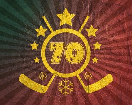 70 number  illustration. Classic style Sport Team font. Numbers decorated by lines and dots pattern. Ice Hockey Emblem. Grunge distress texture.