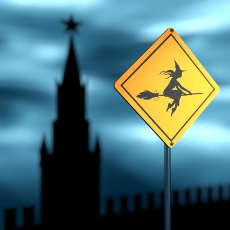 moscow city: Warning yellow road sign with flying witch icon. Storm clouds on backdrop. Moscow Kremlin silhouette. 3D rendering