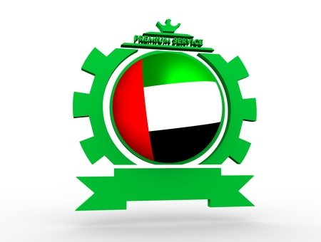 Sphere textured by flag of the United Arab Emirates in gear shape emblem. Crumpled paper map. 3D rendering