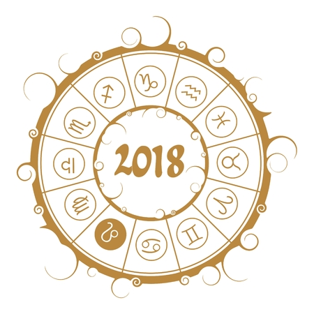 Astrological symbols in the circle. Leo sign. New Year and Christmas celebration card template. Zodiac circle with 2018 new year number. Illustration