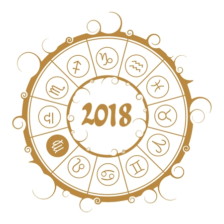 augury: Astrological symbols in the circle. Maiden sign. New Year and Christmas celebration card template. Zodiac circle with 2018 new year number.