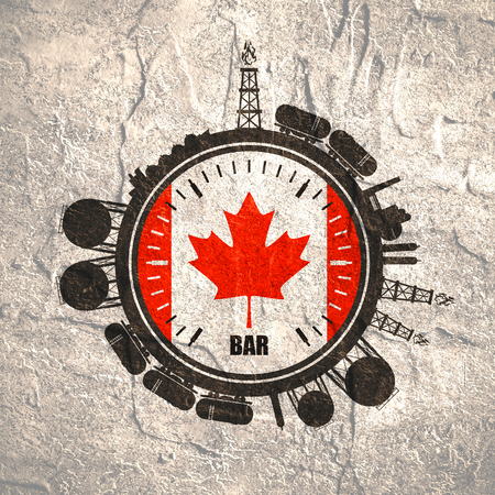 Circle with energy relative silhouettes. Design set of natural gas industry. Objects located around the manometer circle. Flag of the Canada. Grunge distress texture.