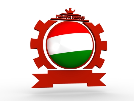 Sphere textured by flag of the Hungary in gear shape emblem. Crumpled paper map. 3D rendering Stock Photo