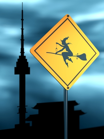 Warning yellow road sign with flying witch icon. Storm clouds on backdrop. Seoul famous buildings silhouettes. 3D rendering