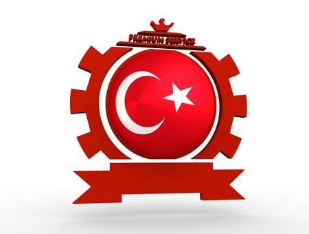 Sphere textured by flag of the Turkey in gear shape emblem. Crumpled paper map. 3D rendering