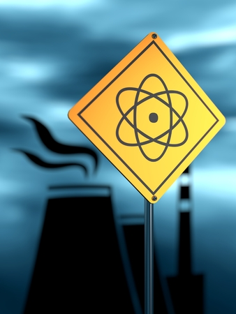 thermal power plant: Atomic power station silhouette. Nuclear security theme. Warning yellow road sign with atom model icon Stock Photo