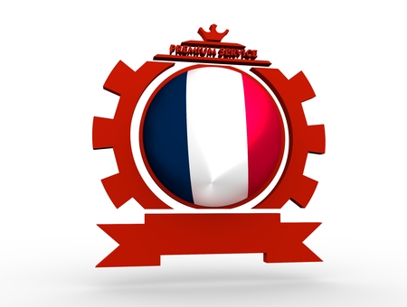 Sphere textured by flag of the France in gear shape emblem. Crumpled paper map. 3D rendering