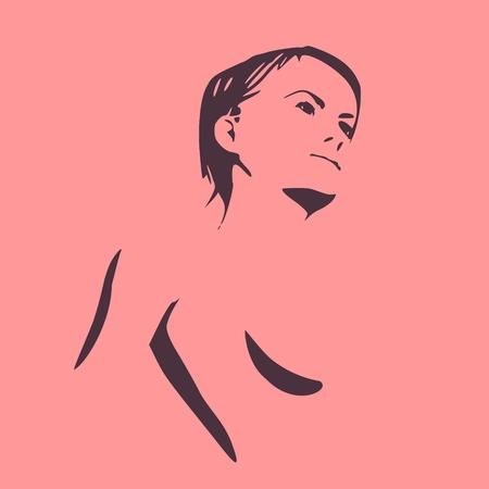 Eine nackte Torso-Vektorillustration der jungen Frau der Skizze. Standard-Bild - 87905558