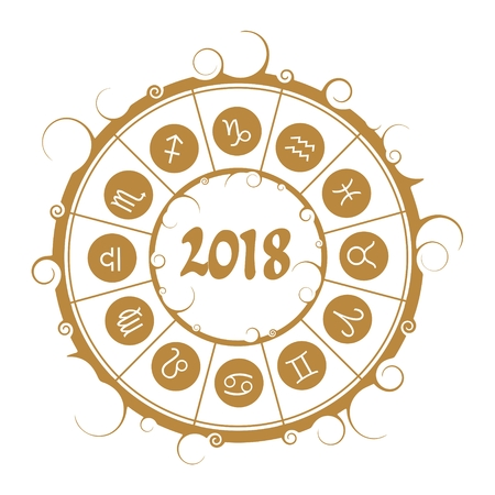 An astrological symbols in the circle. New Year and Christmas celebration card template.