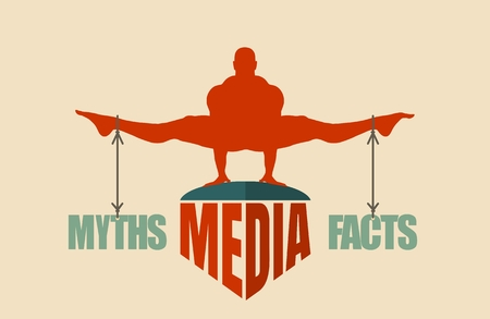 Balance between myths and facts. Silhouette of a man tied with the words.