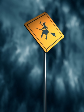 traffic pole: Warning yellow road sign with flying witch icon. Storm clouds on backdrop. 3D rendering