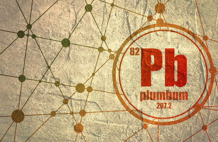 plumbum: Plumbum chemical element. Sign with atomic number and atomic weight. Chemical element of periodic table. Molecule And Communication Background. Connected lines with dots. Distress grunge texture Stock Photo