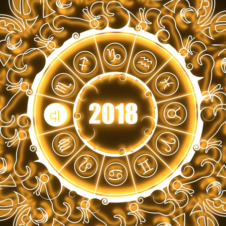 augury: Astrological symbols in the circle. Scales sign. Celebration card template. Neon shine illumination. Zodiac circle with 2018 new year number. 3D rendering