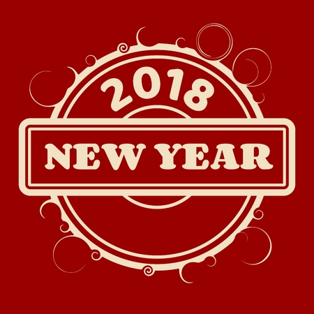 New Year and Christmas relative vector illustration. Circle seal with new year text and 2018 number
