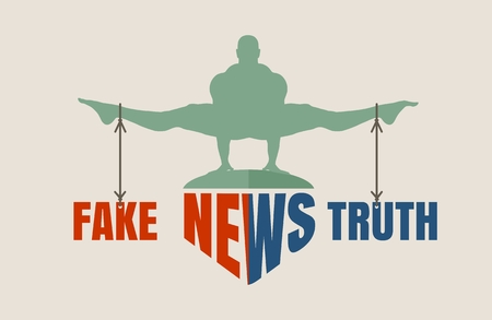 Balance between fake and truth vector illustration. Illustration