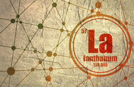lanthanum chemical element sign with atomic number and atomic weight chemical element of periodic - Lanthanum Periodic Table Atomic Mass